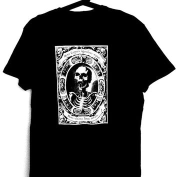 T-Shirt for man with illustration of skull MORS,black color,gothic,goth,punk,alternative clothing,dark,medieval,occultism,macabre,art,horror
