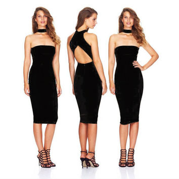 Ladies Slim Sexy Club One Piece Dress [4919468548]