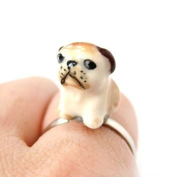 Porcelain Ceramic Grumpy Bulldog Puppy Dog Animal Adjustable Ring | Handmade