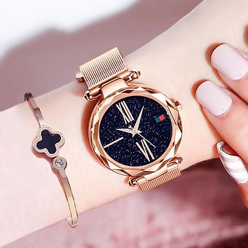 Luxury Rose Gold Women Watches / Magnet Buckle Fashion Casual / Waterproof Roman Numeral
