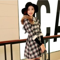 Women : Short Sleeve Plaid Cashmere Coat YRB0416