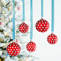 Red Silver-Star Ball Christmas Ornament, Set of2 - Neiman Marcus