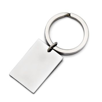 Men's Stainless Steel Polished Key Ring - Engravable Personalized Gift Item
