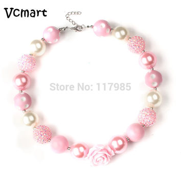Vcmart 2Pcs Big Rose Flower Girls Bubblegum Necklace Kids Chunky Imitation Pearl Necklace Children Jewelry  Gift