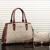 COACH Women Shopping Leather Tote Handbag Shoulder Bag Set Two-Piece