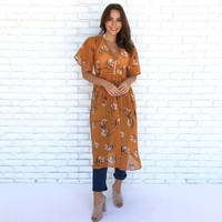 Lana Sheer Floral Cover Up in Mustard