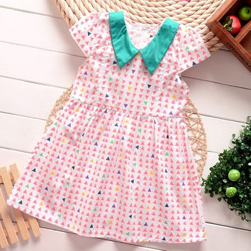 Cute Kids Girls Wear Peter Pan Collar Cap Sleeve High Waist Print A-Line Dress