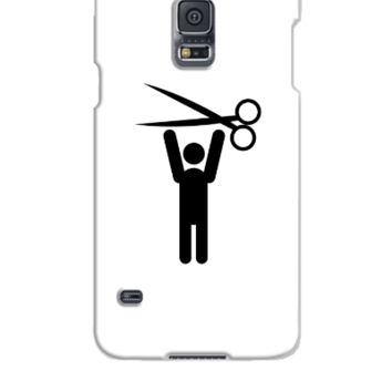 hairstylist man happy with scissors held above his head - Samsung Galaxy S5 Case