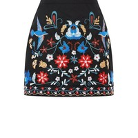 Blue Vanilla Black Floral Embroidered Mini Skirt | New Look
