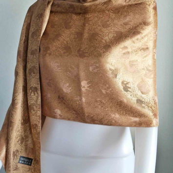 "Handwoven 100% Thai Silk Scarf Gold Elephant Vintage Fashion Design  20x70""   Beach Winter Scarf  Soft and smooth"