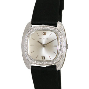 Pre-Owned LeCoultre Ladies Manual Wind Strap Watch - 14K White Gold w/ Diamonds