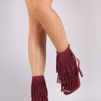 Liliana Long Layered Fringe Peep Toe Stiletto Mule