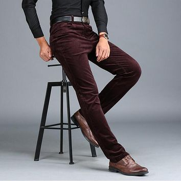New autumn winter men's casual pants thick warm high quality corduroy trousers business loose straight pants men plus size 42