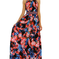 Away We Go Black Floral Maxi Dress - Lucky Duck Boutique