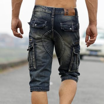 Faded Summer Mens Denim Shorts Retro Vintage acid-washed Cargo pockets Military Style Multi-Biker Short Jeans For Men