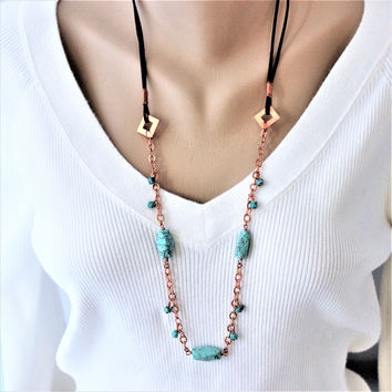 Long Turquoise Necklace with Copper Chain and Brown Leather Cord