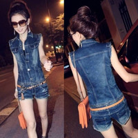 New Hot Cotton Denim Jean Jumpsuit Romper Sleeveless Button Vest Pant Women  16728 (Size: XL, Color: Dark blue) = 1930138244
