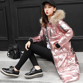 New Women Rose Gold Metal Color Coat Down Cotton Padded Coat Large Fur Collar Jacket Loose long Coat Thicken Warm Winter Parkas