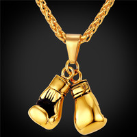 Golden Boxing Glove Pendant Charm Necklace Sport Jewelry 316L Stainless Steel Yellow Gold Plated Chain For Men -03130