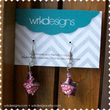 SALE Decorative Pink 3D Origami Paper Star Earrings - Upcycled - OOAK
