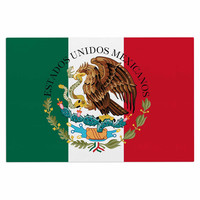 "Bruce Stanfield ""Mexico Flag And Coat Of Arms"" Red Green Decorative Door Mat"