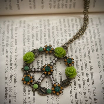 Bronze and Green Peace Symbol with Rhinestones and Roses Necklace
