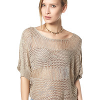 Hollow Out Half Sleeve Cropped Knitwear
