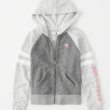girls sporty icon full-zip hoodie | girls tops | Abercrombie.com