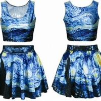 Ninimour- Digital Print Reversible Crop Top + Skirt 2 Pieces Vintage Clubwear
