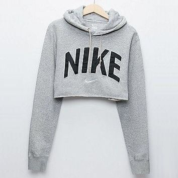 Nike Casual Long Sleeve Hooded Crop Top Sweater Pullover Hoodie