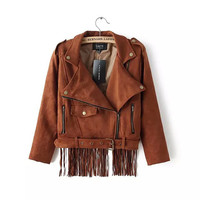 Brown Back Tassel Zipper Suede Lapel Jacket  With Belt