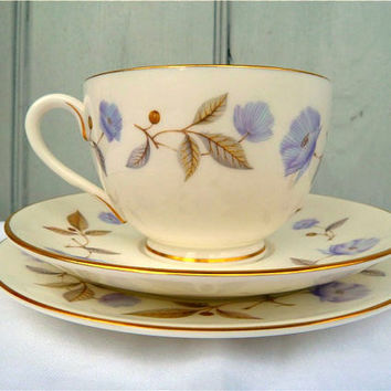 English Teacup Trio Floral Poppy Royal Worcester by TheDorothyDays