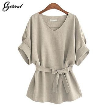 Summer 5XL Plus Size Women Shirts Linen Tunic Shirt V Neck Big Bow Batwing Tie Loose Ladies Blouse Female Top For Tops