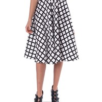 All About Grid Midi Skirt - White/Black