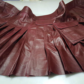 RED WINE LEATHER UTILITY KILT CUSTOM MADE