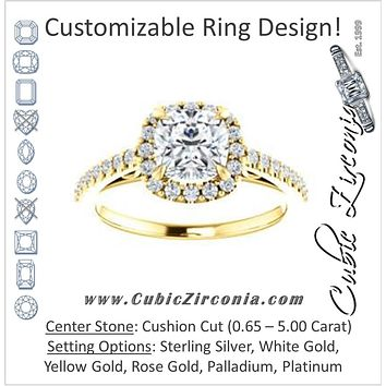 Cubic Zirconia Engagement Ring- The Sunshine (Customizable Cushion Cut Halo Design with Vintage Cathedral Trellis and Thin Pavé Band)