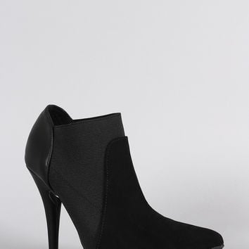 Anne Michelle Elastic Pointy Toe Stiletto Heeled Booties