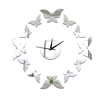Creative Butterfly Flower 3D Wall Clock Acrylic Mirror Reflective Stickers Watch Modern Art Livingroom Home Decor
