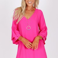Ruffle Sleeve Shift Dress Fuchsia