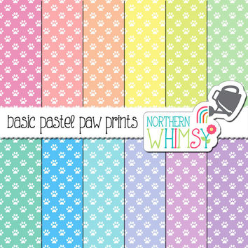 Paw Print Digital Paper - pet seamless patterns in pink, peach, yellow, mint, baby blue & lavender - pet scrapbook paper - commercial use