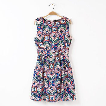 Summer Stylish Geometric Print Sleeveless Slim Vest Dress One Piece Dress [4917785732]