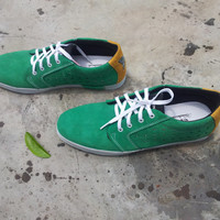 handmade shoes green yellow Marapulai US 10.5 Tigo low Sneakers suede custom