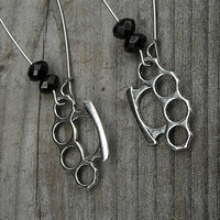 Silver Brass Knuckles Earrings, Punk Rock