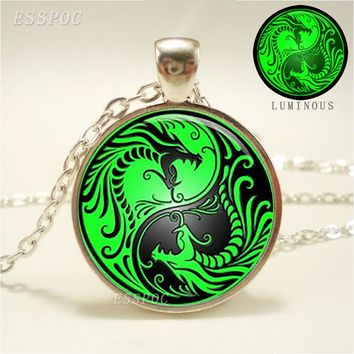 Glowing Dragons Pendant Glow In Dark Yin Yang Necklace Charm Luminous Jewelry Fashion Accessories for Women Valentines Day Gifts