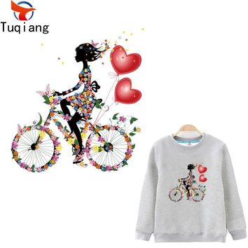 Trendy Romantic style flower girl and bicycle stickers Diy iron on patches girls T-shirt hoodie and denim jacket decorative 26.5*24.5CM AT_94_13