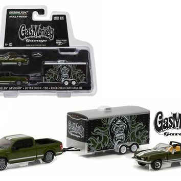 "2015 Ford F 150 Green and 1968 Shelby GT500KR Convertible Green with Enclosed Car Hauler \Gas Monkey Garage"" (2012 Current TV Series) 1/64 Diecast Model Cars by Greenlight"""