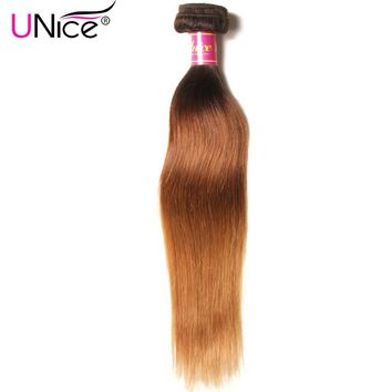 UNice Hair Company Ombre Brazilian Hair Straight Weave T1B/4/27 Remy Hair Bundles 100% Human Hair 1 Piece Can Mix Any Length
