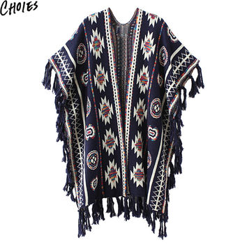 Women 3 Colors Aztec Long Cardigan Vintage Geo Pattern Tassel Drop Knitted Sweater 2016 Fall Casual Loose Poncho Ethnic Cape