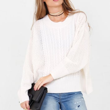 WILDFOX | Westlake Cable Sweater- Latte