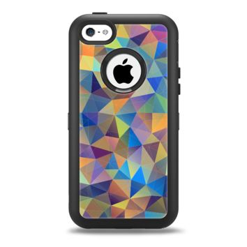 The Colorful Vibrant Triangle Connect Pattern Apple iPhone 5c Otterbox Defender Case Skin Set